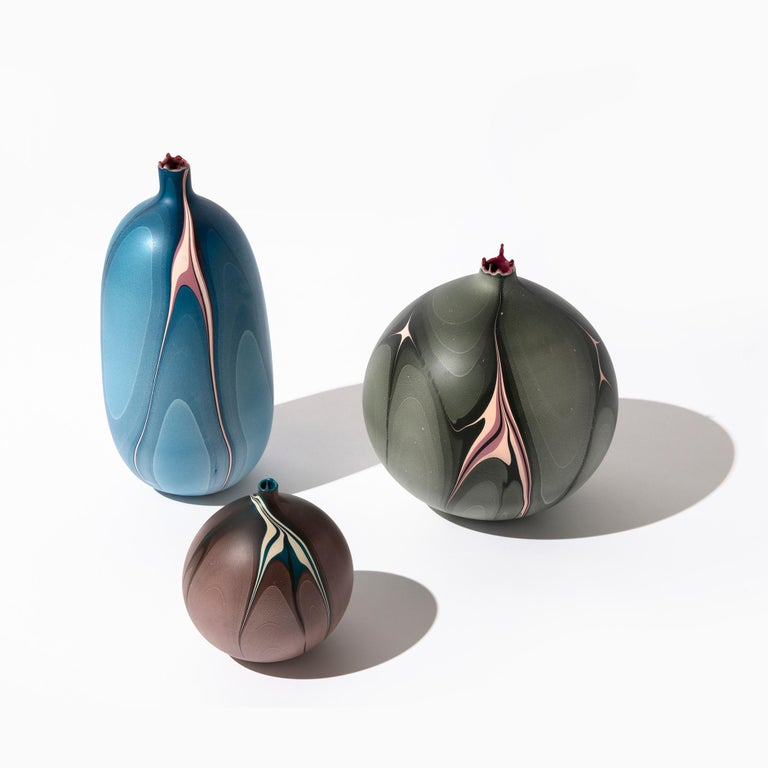 Plaster Contemporary Oblong Marbled Mississippi Vase in Blue by Elyse Graham For Sale