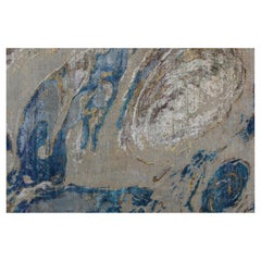 Contemporary Ocean Abstract Pattern Hand-Knotted Wool and Silk Wall Tapestry