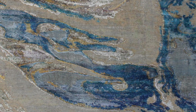 Contemporary Ocean Abstract Pattern Hand-Knotted Wool and Silk Wall Tapestry In New Condition For Sale In GREAT NECK, NY