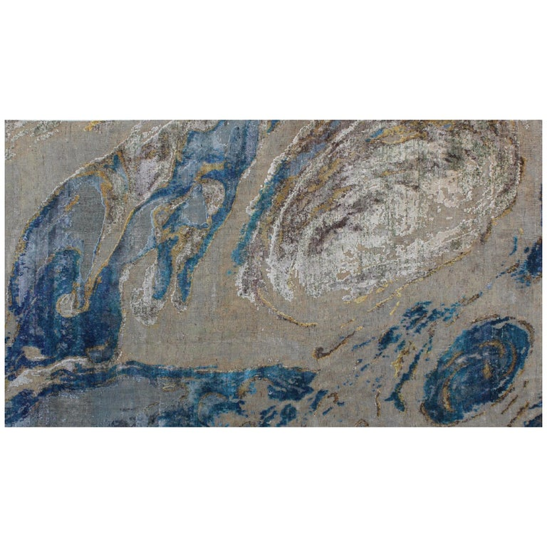 Contemporary Ocean Abstract Pattern Hand-Knotted Wool and Silk Wall Tapestry For Sale