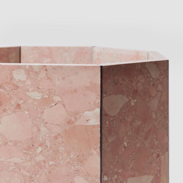 Modern Contemporary Octagon Narcissus Planter / Pot in Pink Rosa Perlino Terrazzo For Sale