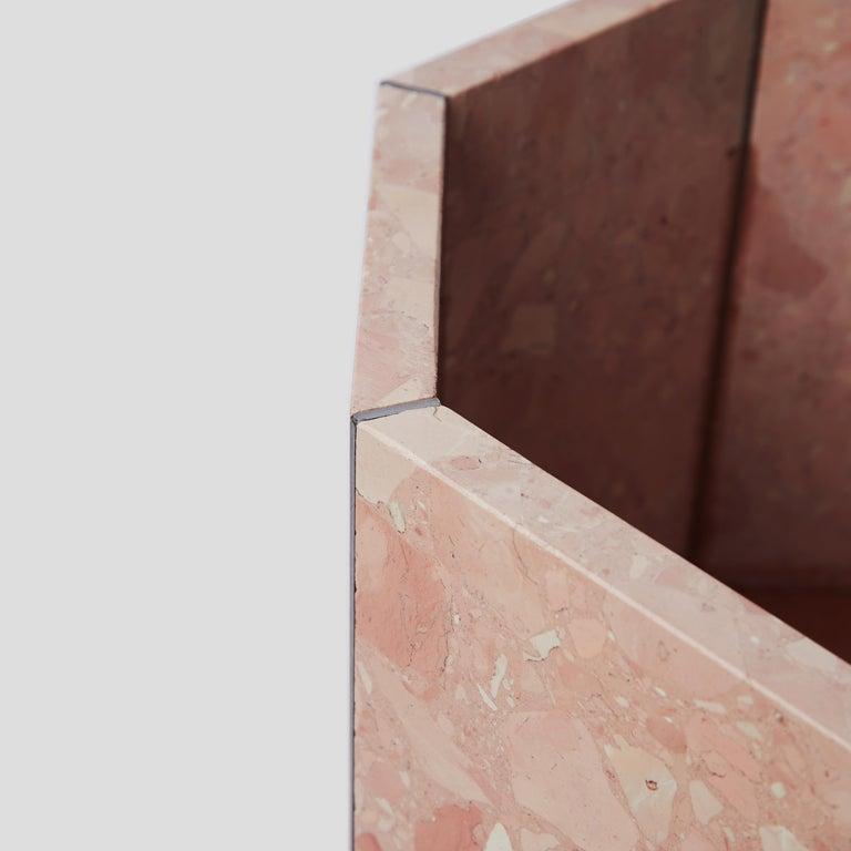 British Contemporary Octagon Narcissus Planter / Pot in Pink Rosa Perlino Terrazzo For Sale