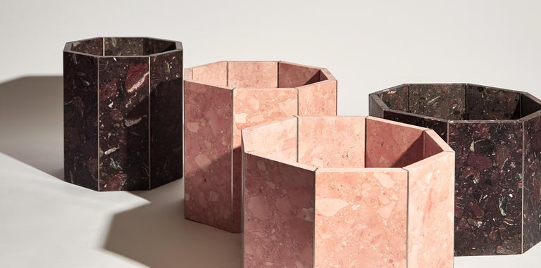 Contemporary Octagon Narcissus Planter / Pot in Pink Rosa Perlino Terrazzo In New Condition For Sale In London, GB