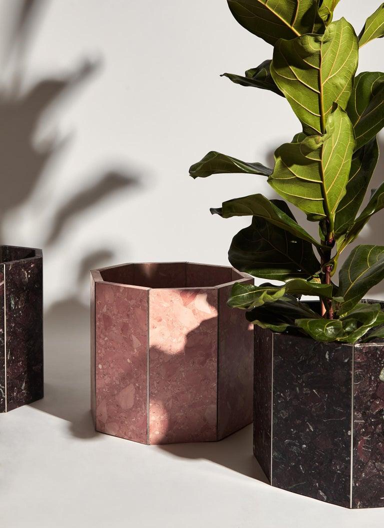 Contemporary Octagon Narcissus Planter / Pot in Pink Rosa Perlino Terrazzo In New Condition For Sale In London, GB