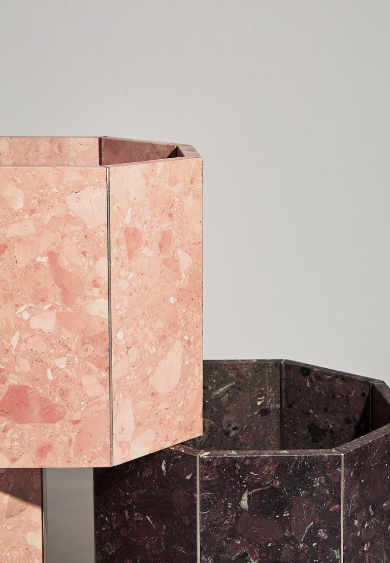 Contemporary Octagon Narcissus Planter / Pot in Pink Rosa Perlino Terrazzo For Sale 1