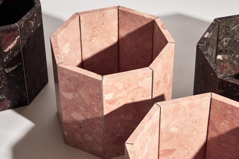 Contemporary Octagon Narcissus Planter / Pot in Pink Rosa Perlino Terrazzo For Sale 2