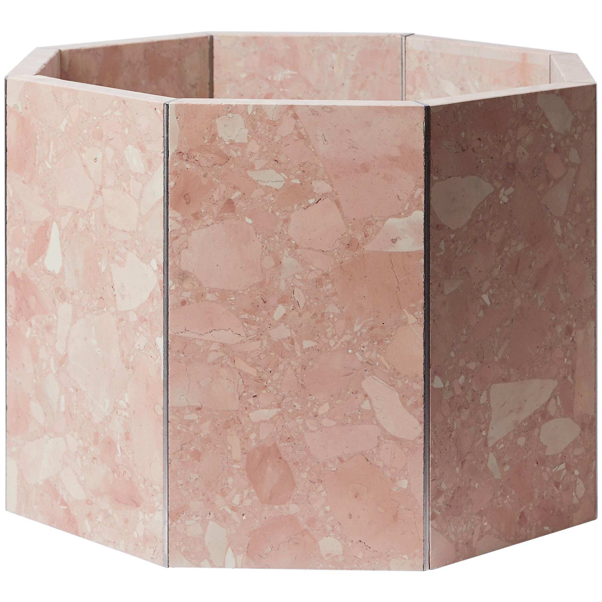 Contemporary Octagon Narcissus Planter / Pot in Pink Rosa Perlino Terrazzo