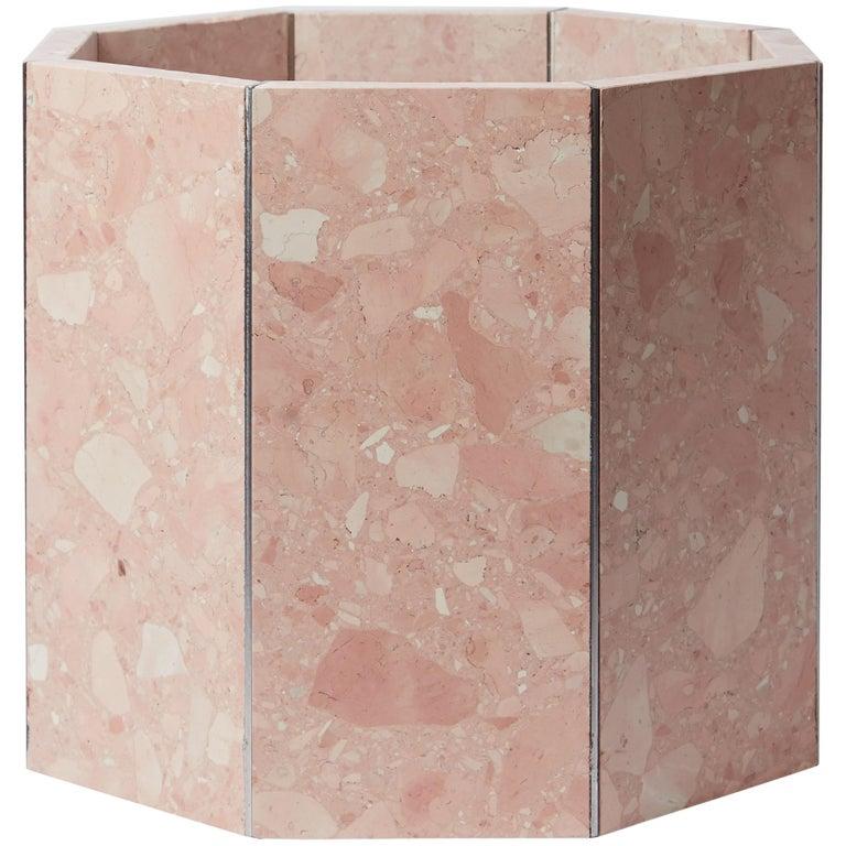 Contemporary Octagon Narcissus Planter / Pot in Pink Rosa Perlino Terrazzo For Sale