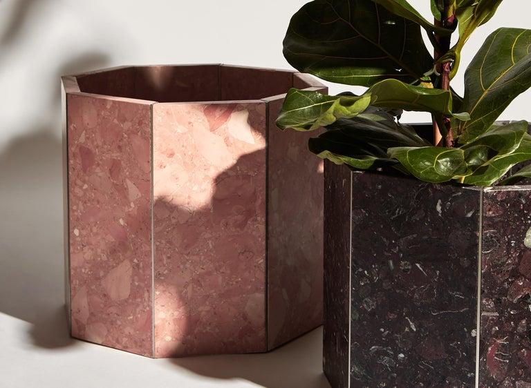 Modern Contemporary Octagon Narcissus Planter / Pot in Red Rosso Levanto Terrazzo For Sale