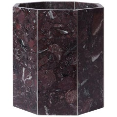 Contemporary Octagon Narcissus Planter / Pot in Red Rosso Levanto Terrazzo