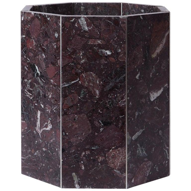 Contemporary Octagon Narcissus Planter / Pot in Red Rosso Levanto Terrazzo For Sale