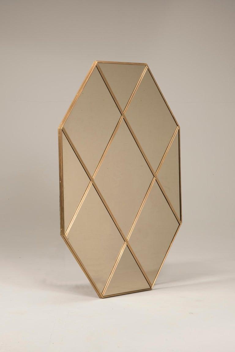 Italian Art Deco Style Customizable Octagonal Brass Window Look Mirror  For Sale
