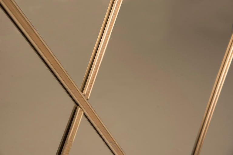 Contemporary Art Deco Style Customizable Octagonal Brass Window Look Mirror  For Sale