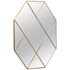 Contemporary Octagonal Customizable Brass Frame Paneled Bronze Glass Mirror