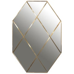 Contemporary Octagonal Customizable Brass Frame Panelled Smoked Glass Mirror
