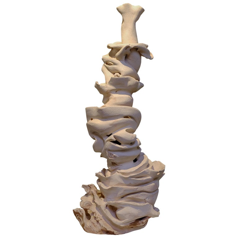 Contemporary Off-White Clay Sculpture For Sale