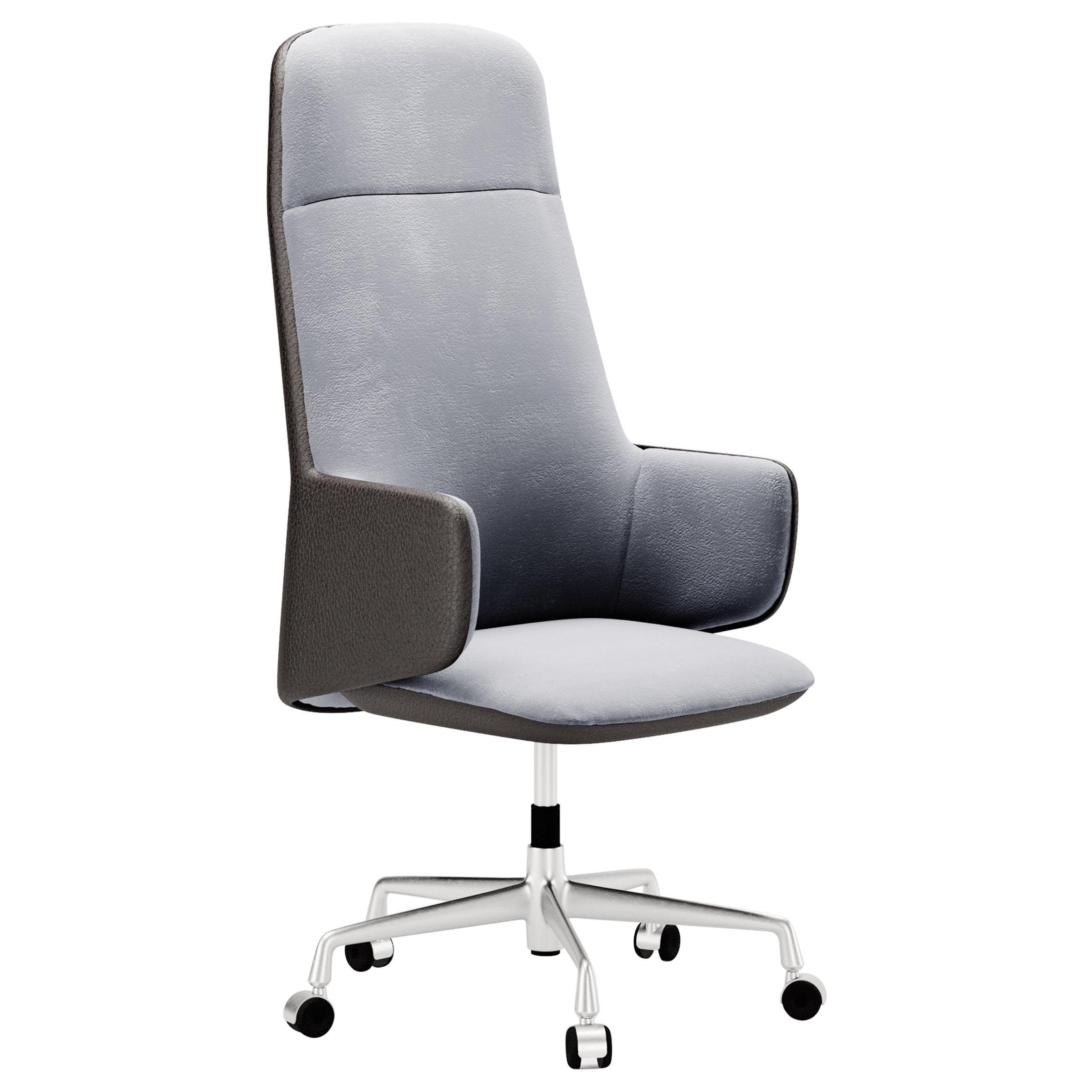 Contemporary Office Chair by Fabio Arcaini Velvet Leather Nabuk