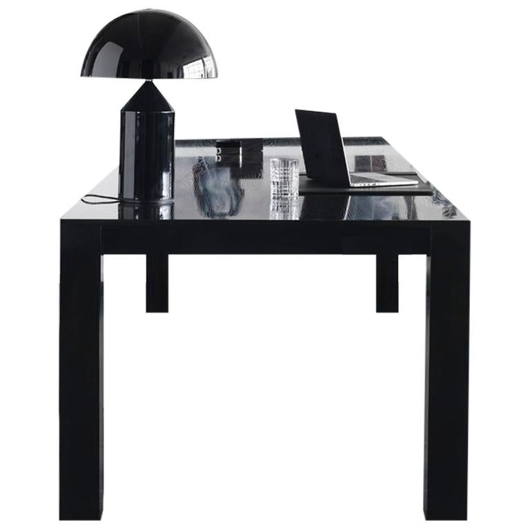 check out 606cd 8438e Contemporary Office Desk in Black High Gloss Lacquered Oak