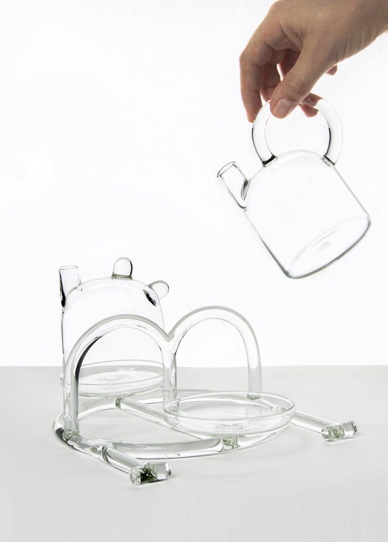 Modern Contemporary Oil and Vinegar Cruet Tableware Kitchen Set Glass Handmade For Sale