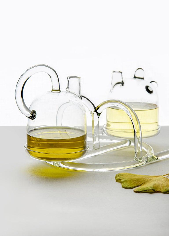 Italian Contemporary Oil and Vinegar Cruet Tableware Kitchen Set Glass Handmade For Sale