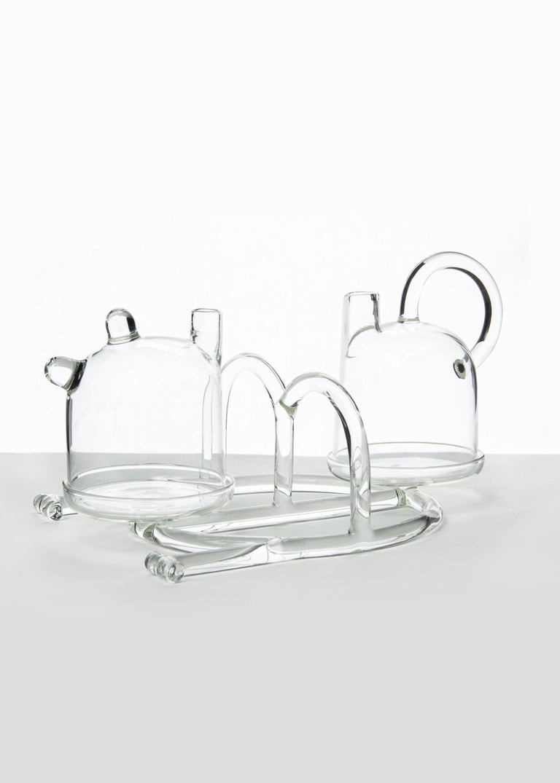 Contemporary Oil and Vinegar Cruet Tableware Kitchen Set Glass Handmade In New Condition For Sale In Milano, IT