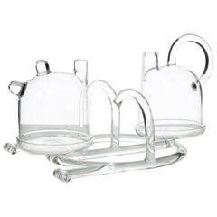 Contemporary Oil and Vinegar Cruet Tableware Kitchen Set Glass Handmade