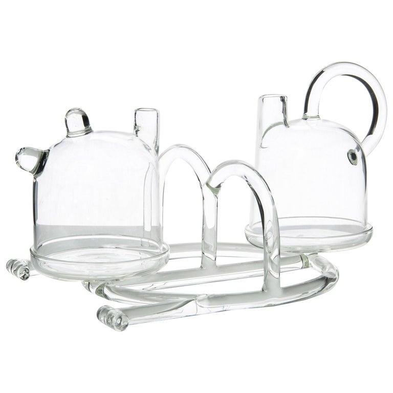 Contemporary Oil and Vinegar Cruet Tableware Kitchen Set Glass Handmade For Sale