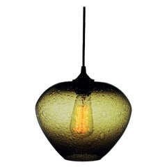 Contemporary Olive Hand Blown Pendant Lamp in Rustic Finish