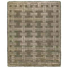 Contemporary Olive Vittorio Geometric Wool and Silk Rug