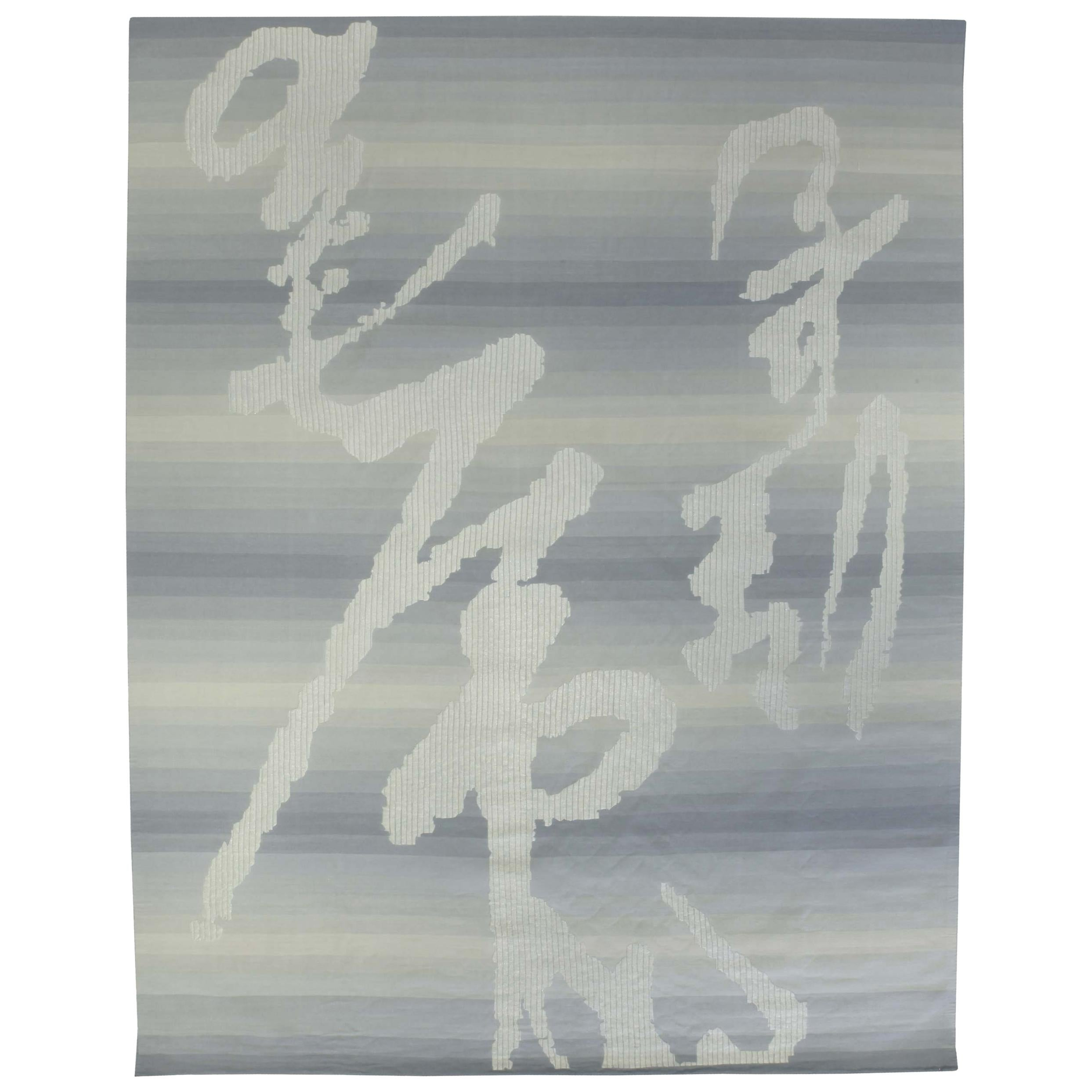 Contemporary Ombre Blue Hand Knotted Wool and Metal Rug