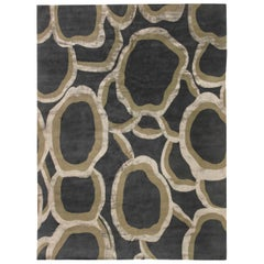 Contemporary Ondulation Gray, Beige and Black, Handwoven Wool and Silk Rug
