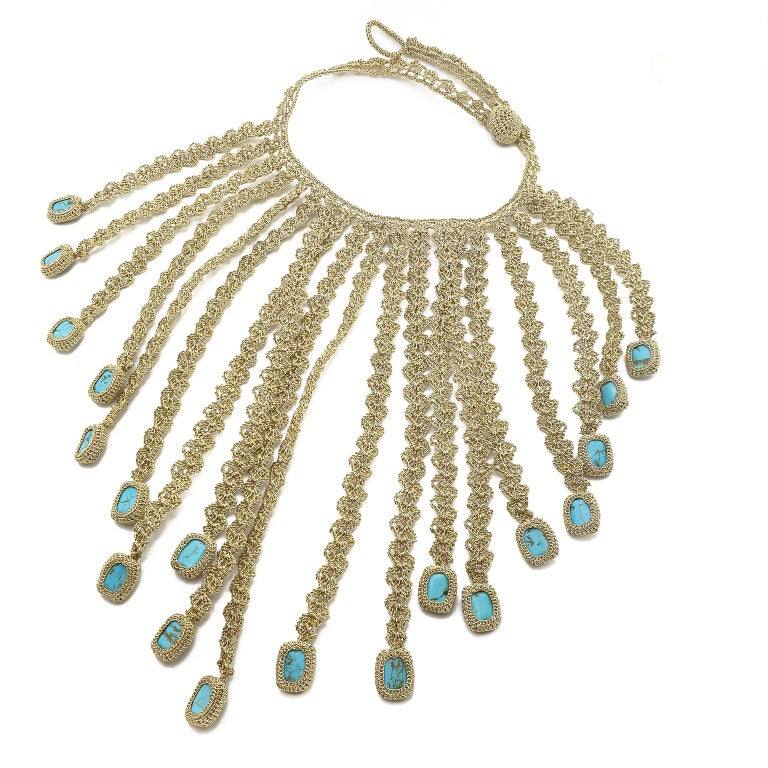 Artisan Gold Color Thread Turquoise Contemporary Hipster Art Fashion Jewelry Necklace For Sale