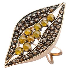 Contemporary One of a Kind Yellow and Brown Diamond Yellow Gold Cocktail Ring