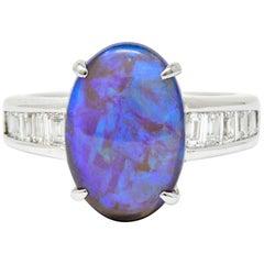 Contemporary Opal 1.27 Carat Diamond Platinum Gemstone Ring