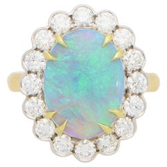 Contemporary Opal and Diamond Cluster Ring Set in 18k Yellow and White Gold