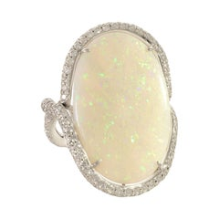 Contemporary Opal and Diamond White Gold Cocktail Ring