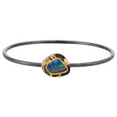 Contemporary Opal Bangle Bracelet Oxidized Sterling Silver 22 Karat Yellow Gold