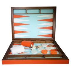Contemporary Orange Luxury Leather Backgammon Set