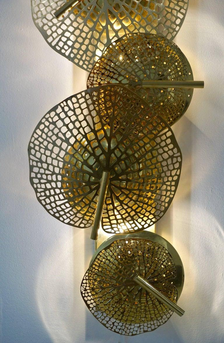 Contemporary Organic Italian Art Design Pair of Perforated Brass Leaf Sconces For Sale 5