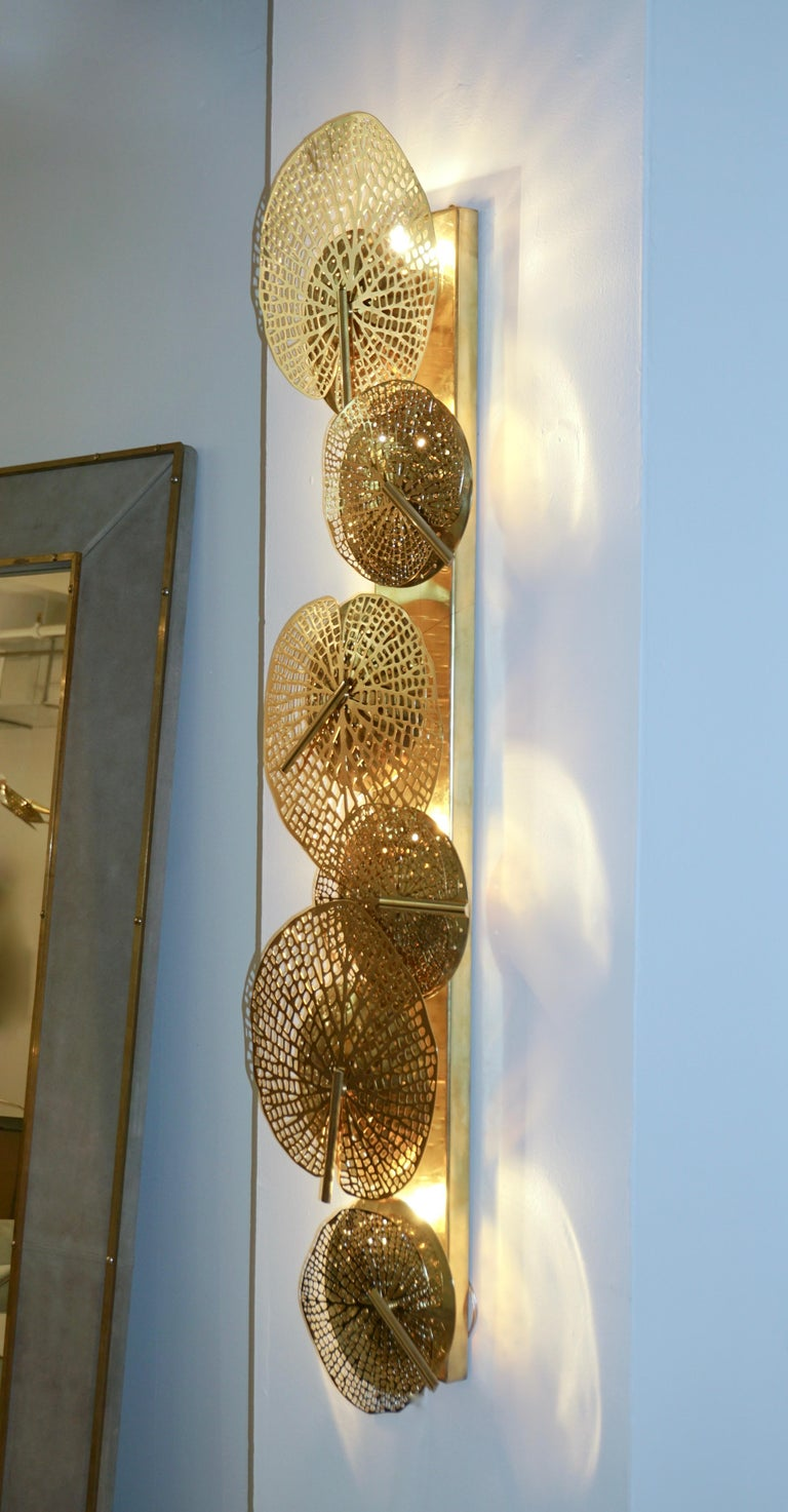 Contemporary Organic Italian Art Design Pair of Perforated Brass Leaf Sconces For Sale 7