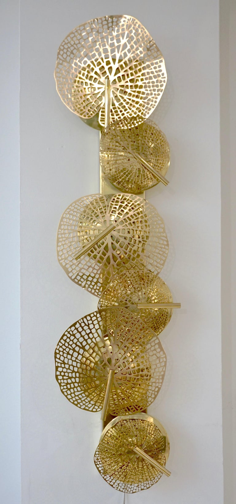 Contemporary Organic Italian Art Design Pair of Perforated Brass Leaf Sconces For Sale 11