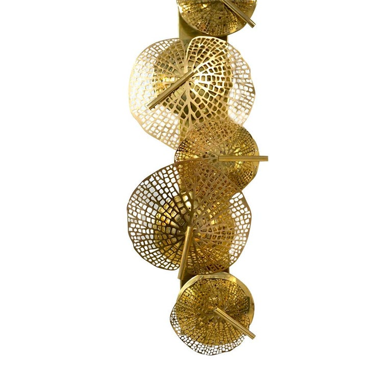 Contemporary Organic Italian Art Design Pair of Perforated Brass Leaf Sconces For Sale 12