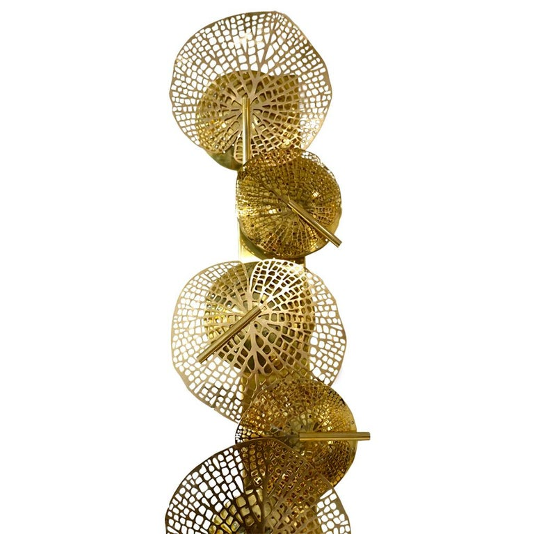 Contemporary Organic Italian Art Design Pair of Perforated Brass Leaf Sconces For Sale 13