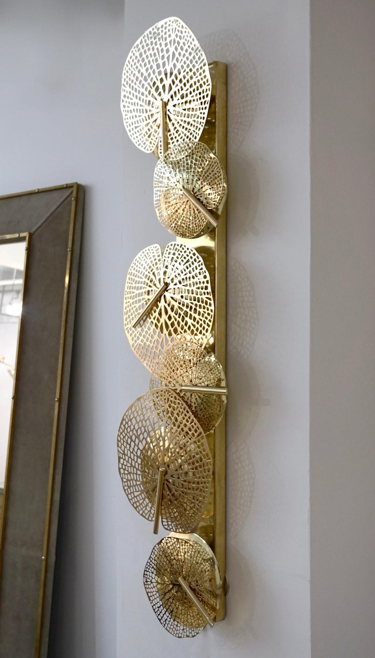 Organic Modern Contemporary Organic Italian Art Design Pair of Perforated Brass Leaf Sconces For Sale