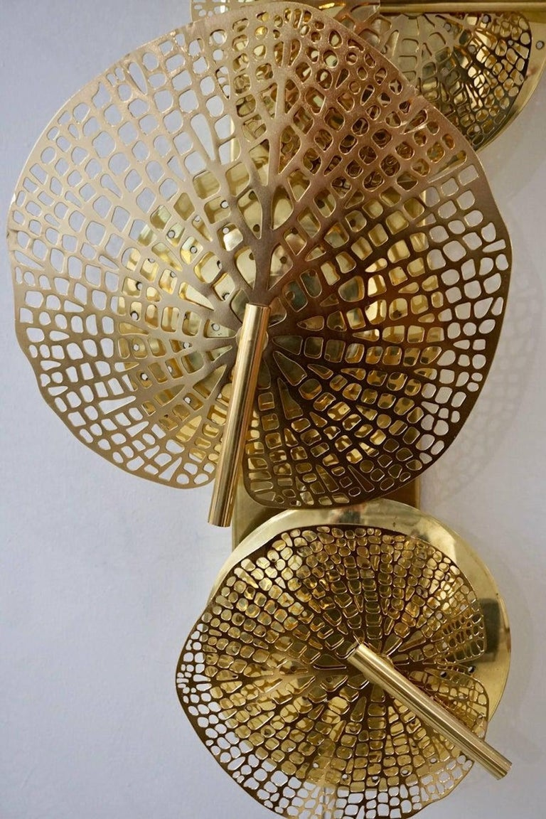 Hand-Crafted Contemporary Organic Italian Art Design Pair of Perforated Brass Leaf Sconces For Sale