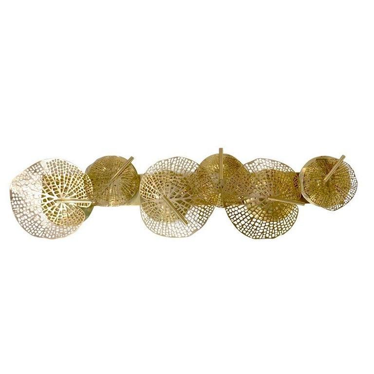 Contemporary Organic Italian Art Design Pair of Perforated Brass Leaf Sconces In New Condition For Sale In New York, NY