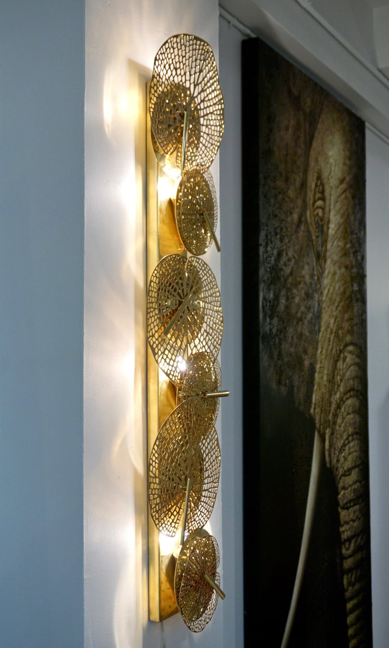Contemporary Organic Italian Art Design Pair of Perforated Brass Leaf Sconces For Sale 1