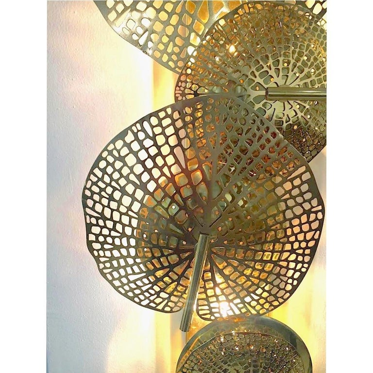 Contemporary Organic Italian Art Design Pair of Perforated Brass Leaf Sconces For Sale 2