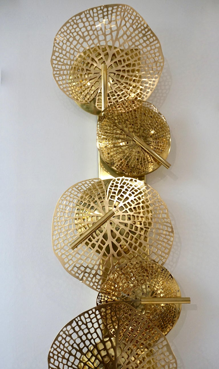 Contemporary Organic Italian Art Design Pair of Perforated Brass Leaf Sconces For Sale 3