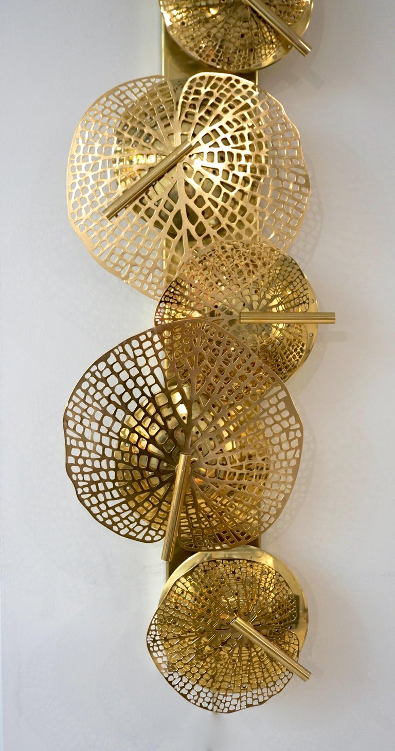 Contemporary Organic Italian Art Design Pair of Perforated Brass Leaf Sconces For Sale 4